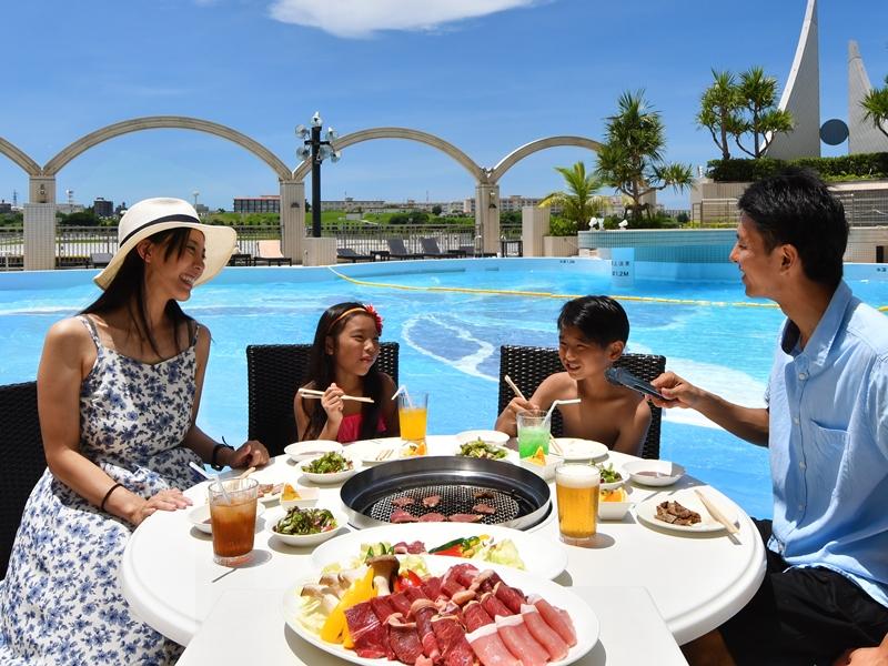 【土・日・祝祭日限定】ランチバーベキュー&プール・天然温泉満喫プラン